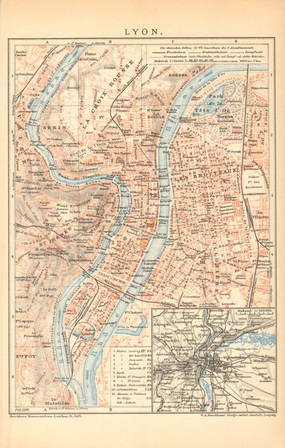 Lyon Or Lyons France Antique Dated City Map Printed In 1896 Etsy
