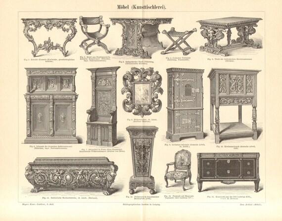 1896 antica incisione di mobili periodi e stili rococ etsy for Stili di mobili