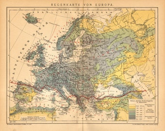 1905 Original Antique Dated Precipitation Map, Rainfall Distribution in Europe