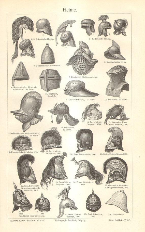1904 Helme Original antiken Gravur auf Rahmen | Etsy
