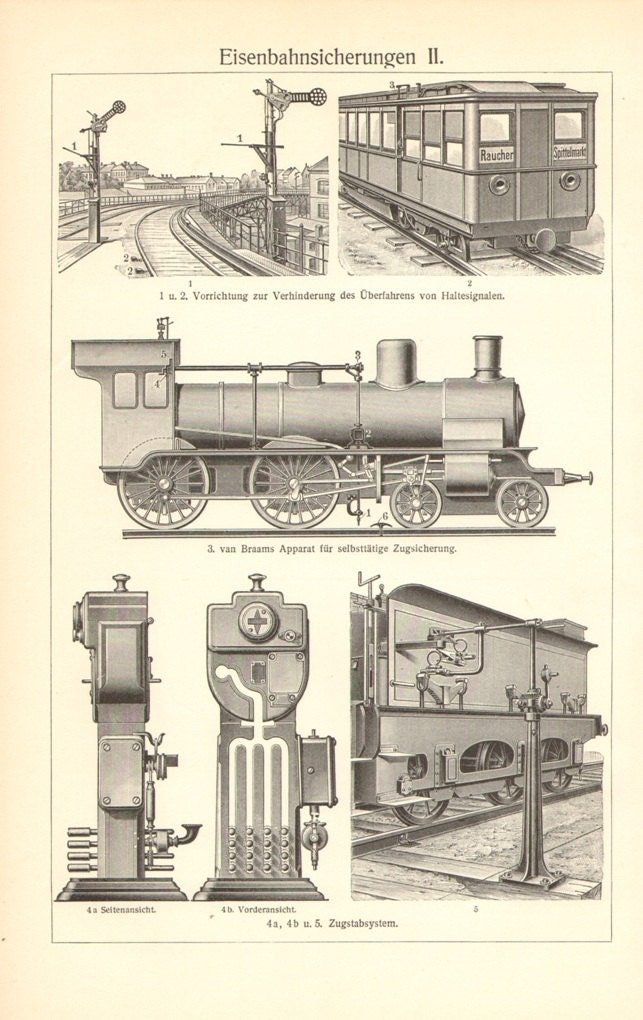 1904 Rail Safety, Track and Rail Maintenance and Safety Equipment, Vintage  Engraving Print