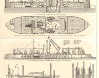 1894 Drillship, Dredger, Dredger Ship Original Antique Engraving