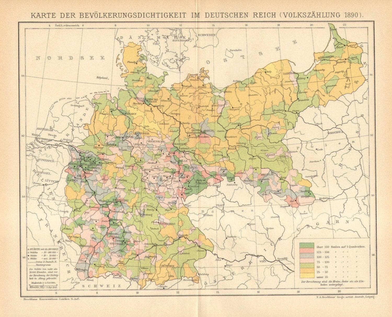 1895 Original Antique Population Density Map of the German ...