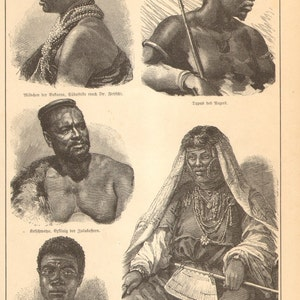 Ethnography Human Races 1855 A Man of the Tuda Race Original Antique Hand Coloured Engraving Anthropology