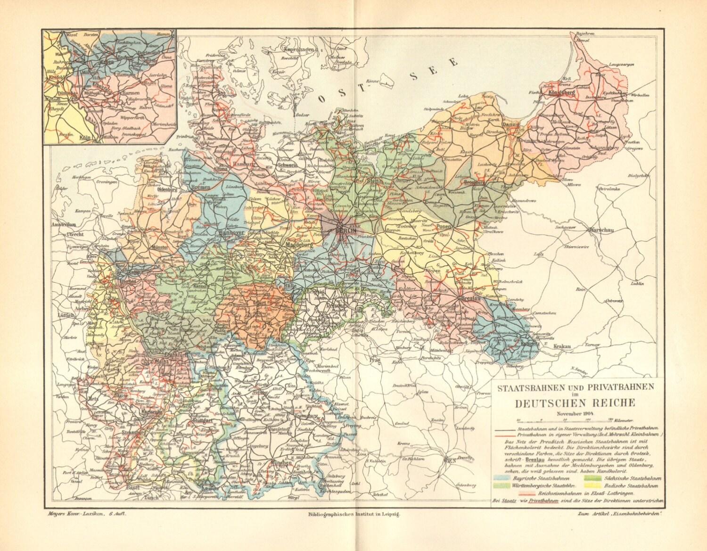 1905 Original Antique Railroad Map of the German Empire