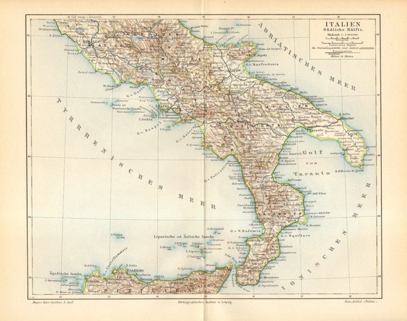 Map Of Southern Italy Regions.Southern Italy At The End Of 19th Century Antique Dated Map Etsy