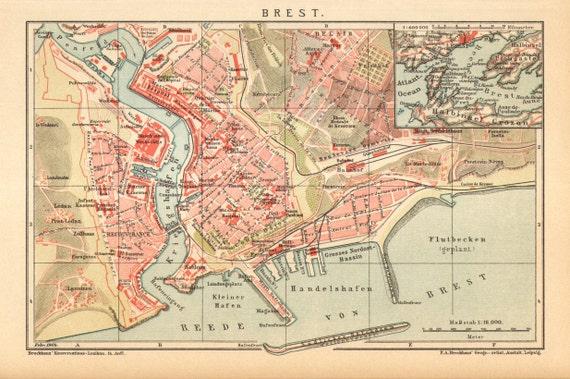 1904 Original Antique Dated City Map Of Brest France