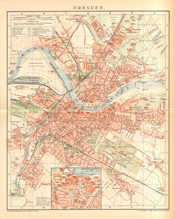Dresden Germany Antique City Map Printed In 1894 Etsy