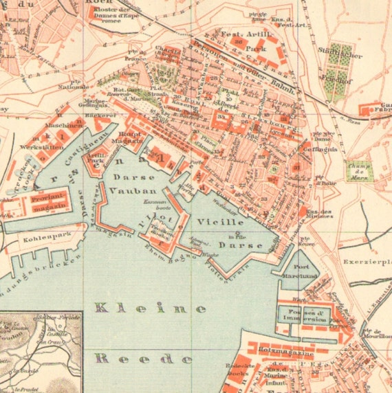 South Of France Cities Map.1896 Antique City Map Of Toulon Southern France