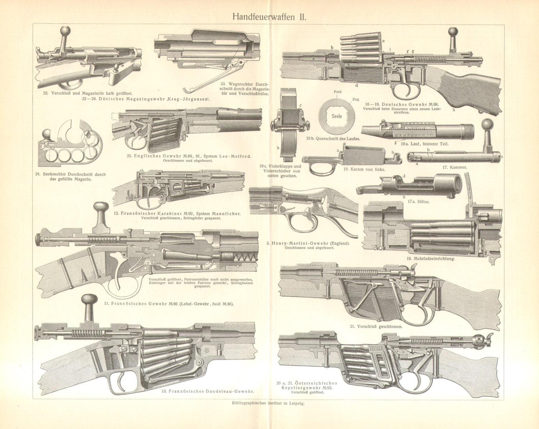 1904 Rifles, Rifle Parts Original Antique Engraving