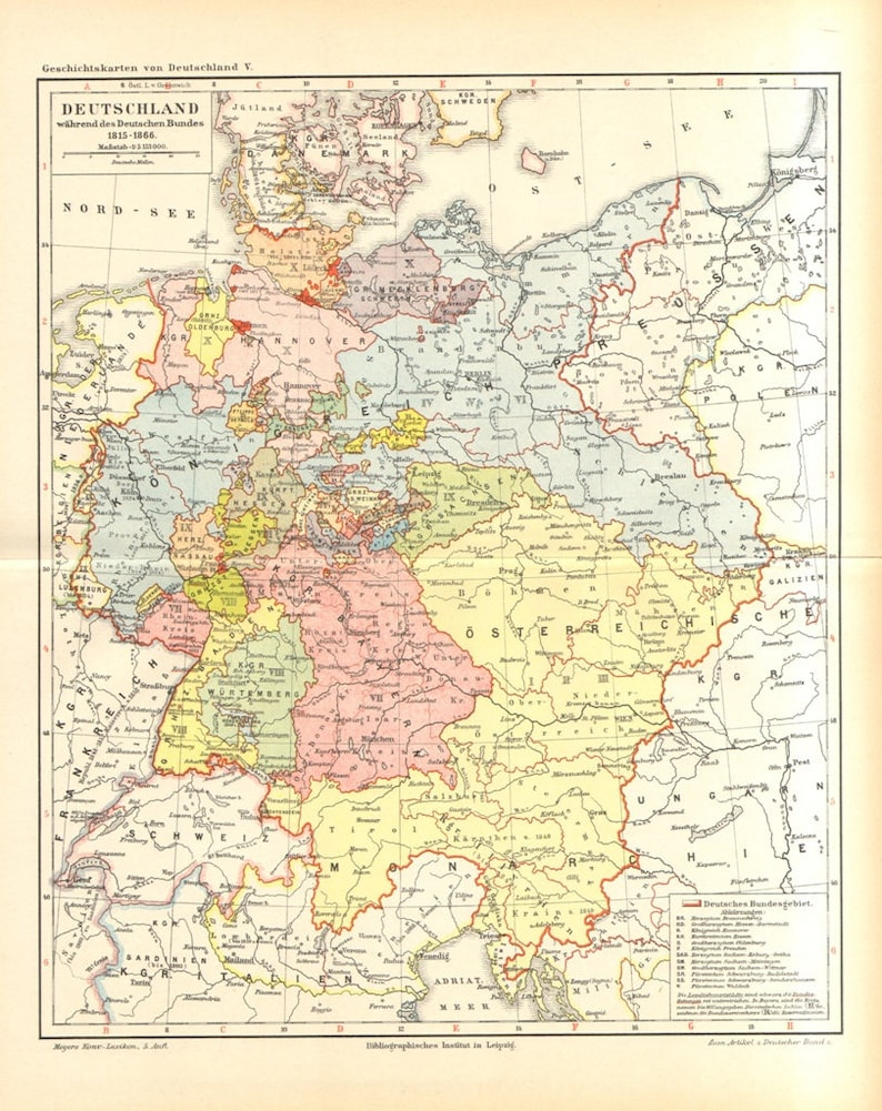 Map Of Germany 1815.1894 Map Of The German Empire 1815 1866 German Confederation Etsy