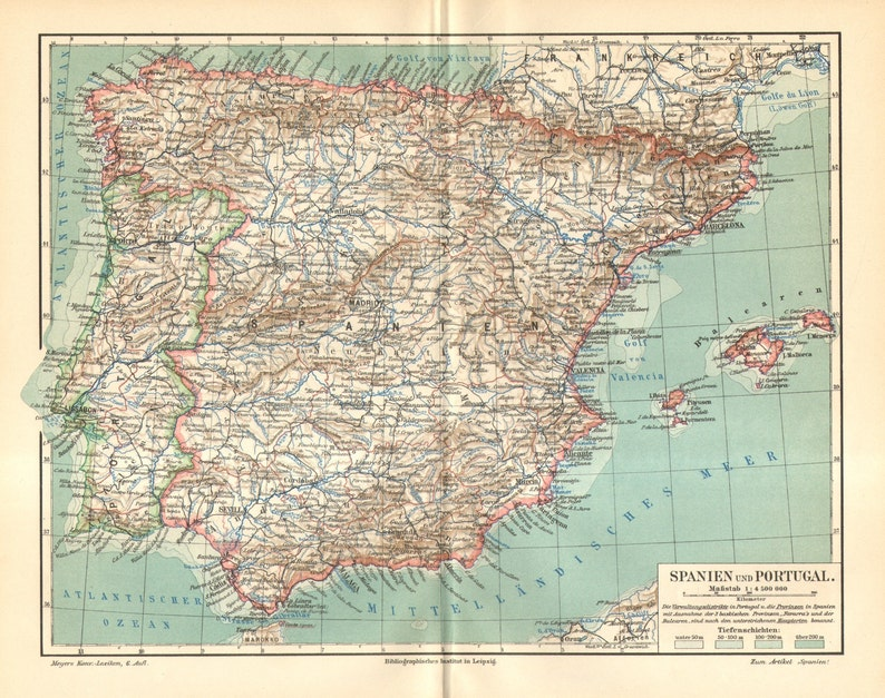 Map Of Portugal And Spain Detailed.1905 Original Antique Map Of Spain And Portugal