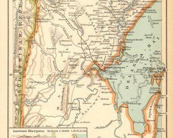 1894 Delagoa Bay, today Maputo Bay Original Antique Map