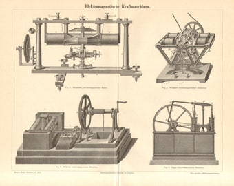 1890 Electromagnetic Machines, Electric Machines, Electric Motors by Helmholtz, Stöhrer, Froment Antique Engraving