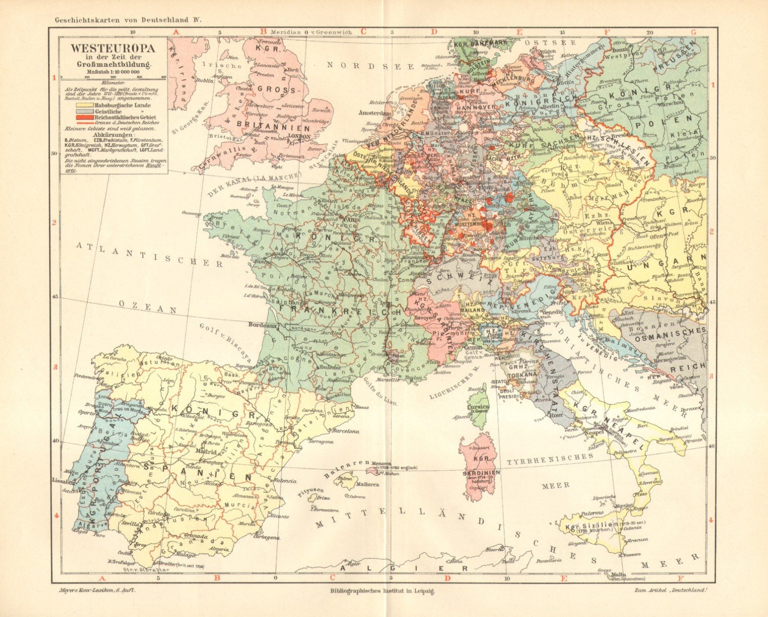 1907 Original Antique Political Map of Europe after the Treaty of Utrecht