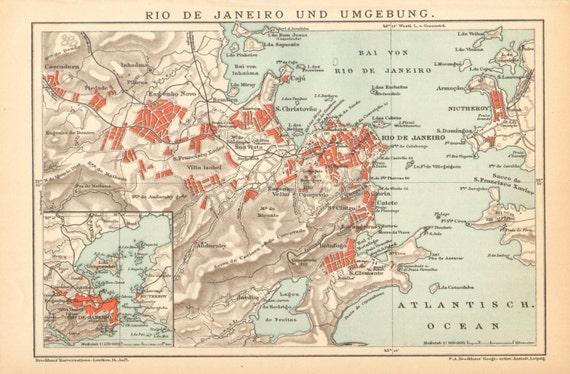 Rio De Janeiro Karte.1895 Antique Map Of Rio De Janeiro And Its Surroundings