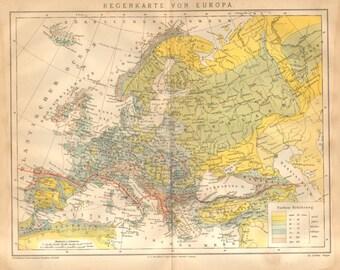 1885 Original Antique Precipitation Map, Rainfall Distribution in Europe