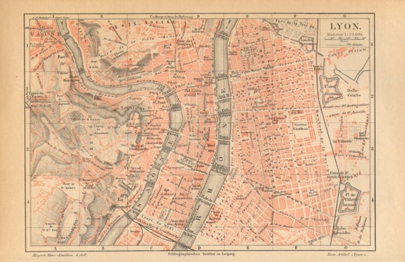 1890 Original Antique City Map Of Lyon Or Lyons France Etsy