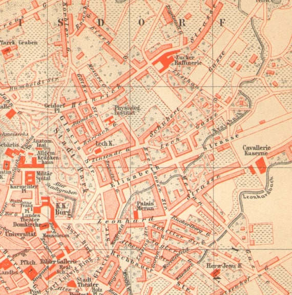 Warsaw Poland City Map Lithograph 1892 old historical map antique german print