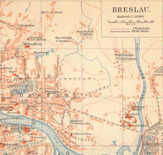 Breslau Stadtplan Lithographie 1893 alte historische Stadtkarte