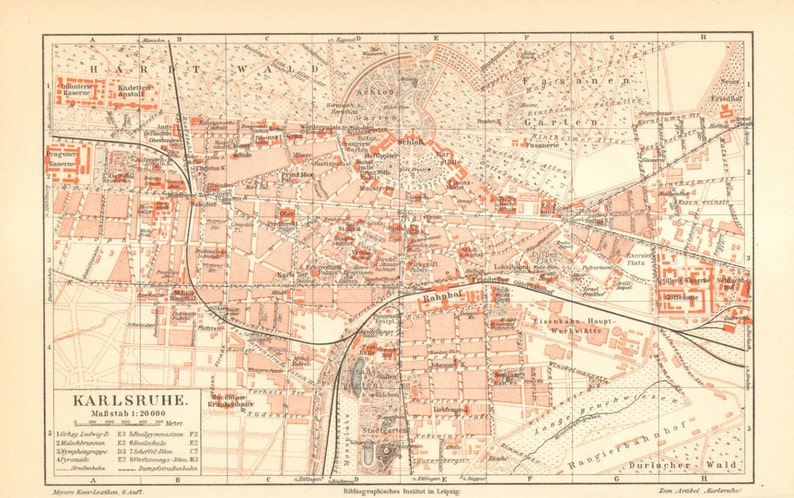 Map Of Germany Karlsruhe Baden.1905 Original Antique City Map Of Karlsruhe Or Carlsruhe Etsy