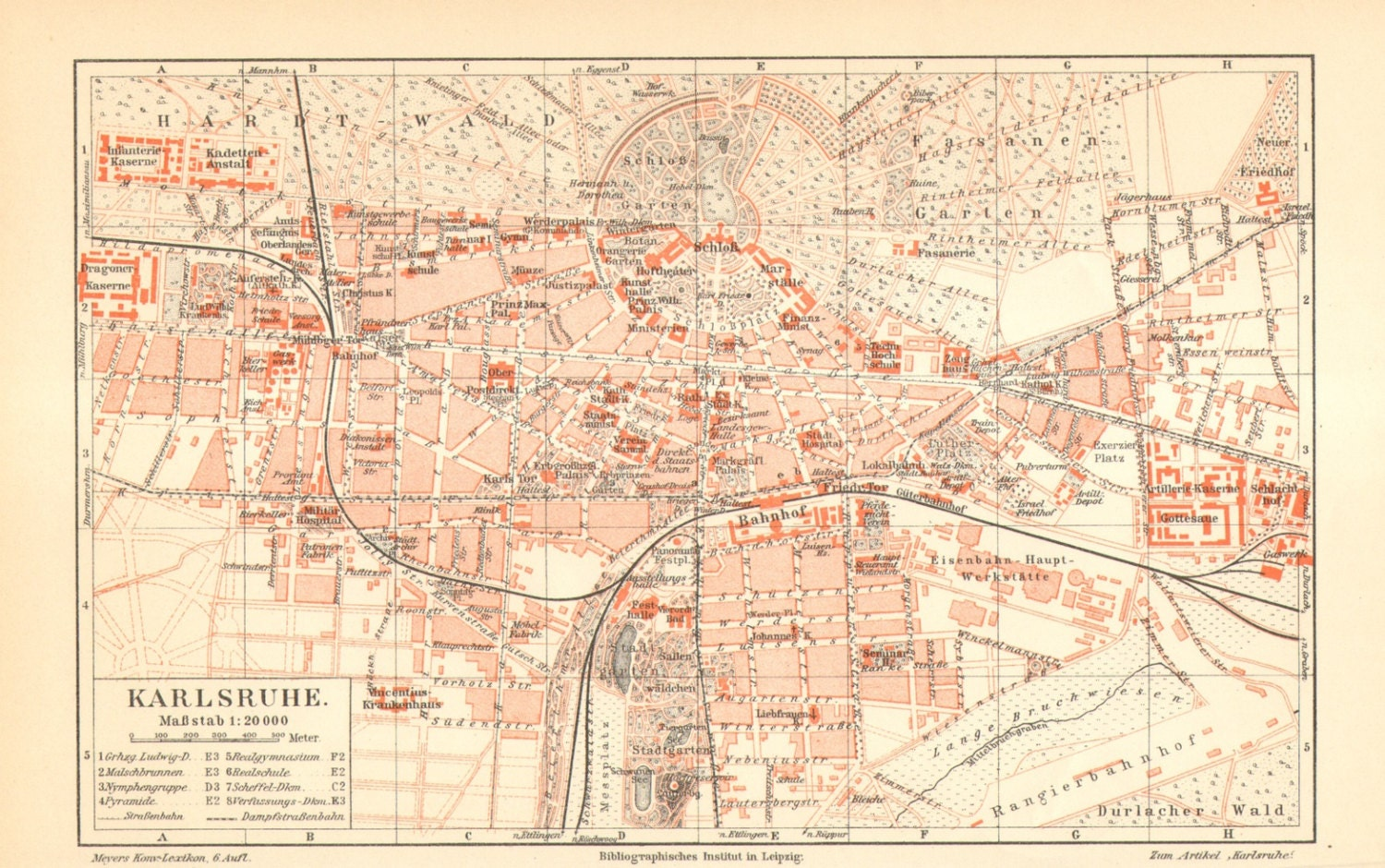 1905 Original Antique City Map of Karlsruhe or Carlsruhe, Baden-Württemberg, on map of rastatt, map of münster, map of monchengladbach, map of saarland, map of basel, map of osterholz-scharmbeck, map of nurtingen, map of nordlingen, map of marburg, map of herzogenaurach, map of porto, map of hamm, map of bowbells, map of hindenburg, map of schwaben, map of bruchsal, map of oberpfalz, map of remagen, map of holzkirchen, map of cochem,