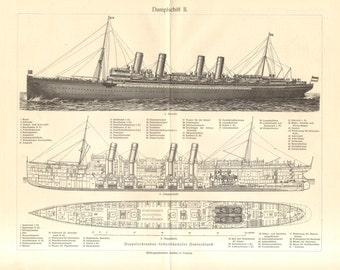 "1908 General Arrangement Drawing of the ""SS Deutschland"" Passenger Liner Vintage Print"