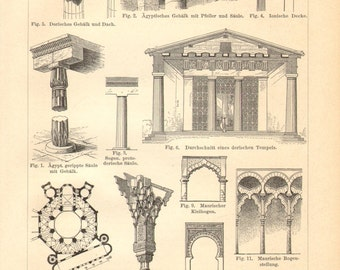 1894 Vintage Print of Architectural Styles, Ancient Egyptian, Byzantine, Moorish, Romanesque, Gothic and Renaissance Architecture