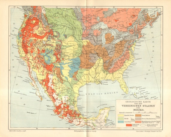 Geological Map Of United States.1895 Original Antique Geological Map Of The United States And Etsy