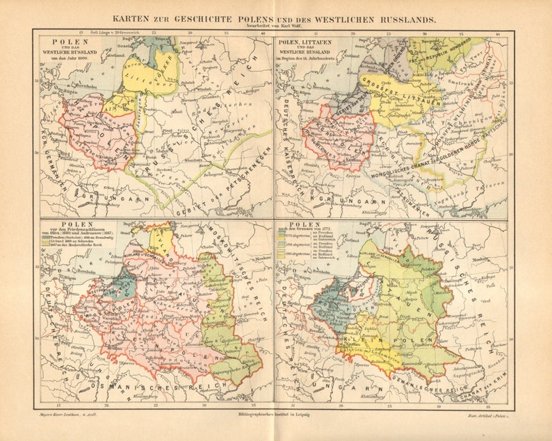 1890 Original Antique Historical Map Of Poland And The Western Etsy
