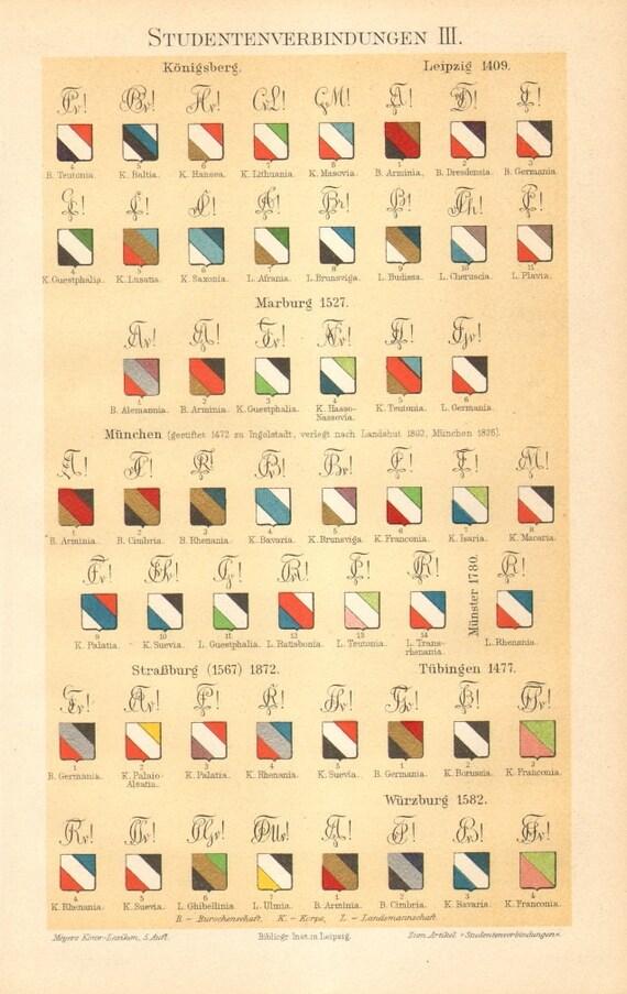 1897 Symbole Zirkel und Farben der Student Vereinigungen   Etsy