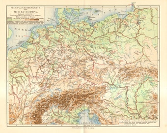 1909 Original Antique Relief Map of Central Europe