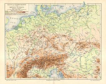 1895 Original Antique Relief Map of Central Europe