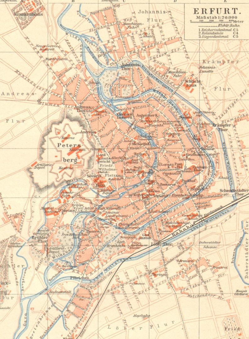 Erfurt Antique City Map 1895 Germany Etsy