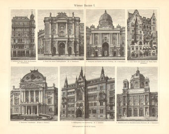 1907 Original Antique Engraving of the Most Impressive Buildings in Vienna