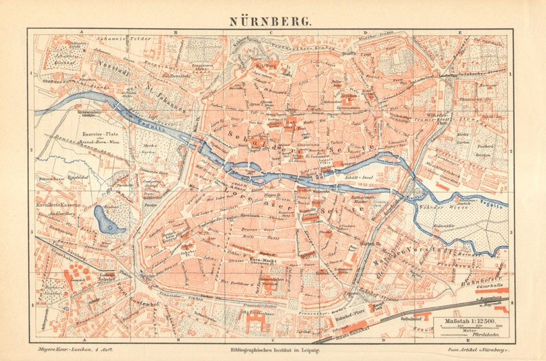 Map Of Germany Nuremberg.1890 Nuremberg Antique City Map Nurnberg Germany 129 Years Old Town Map