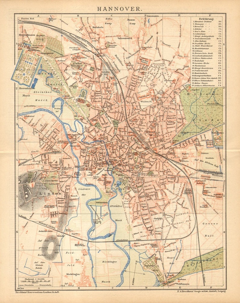 Map Of Germany 1900.Hanover Germany Antique Dated City Map Printed In 1900