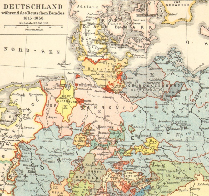 Map Of Germany 1815.1903 Antique Map Of The German Empire 1815 1866 German Etsy