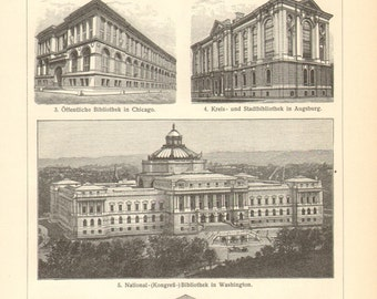 1903 Vintage Print of Library Buildings