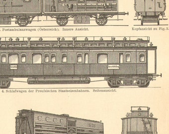 1903 Orginal Antique Engraving of Various Types of Trains
