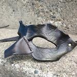 Bird mask WREN. Leather wearable art mask.