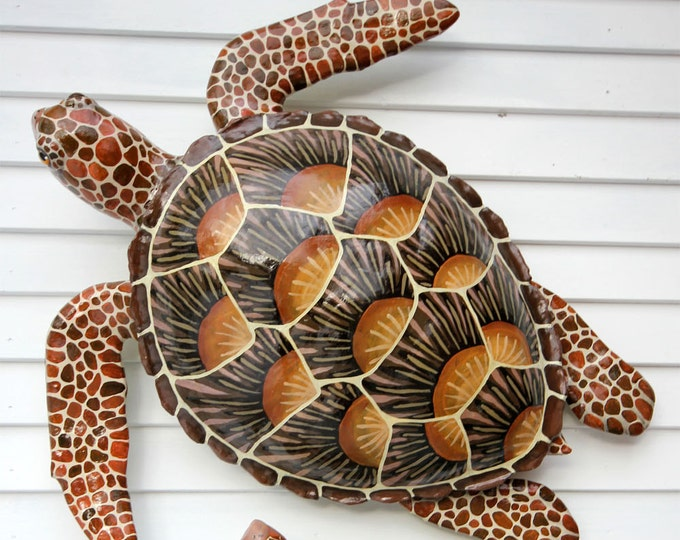 "Large Sea Turtle Wall Sculpture 34"" Original Artwork"