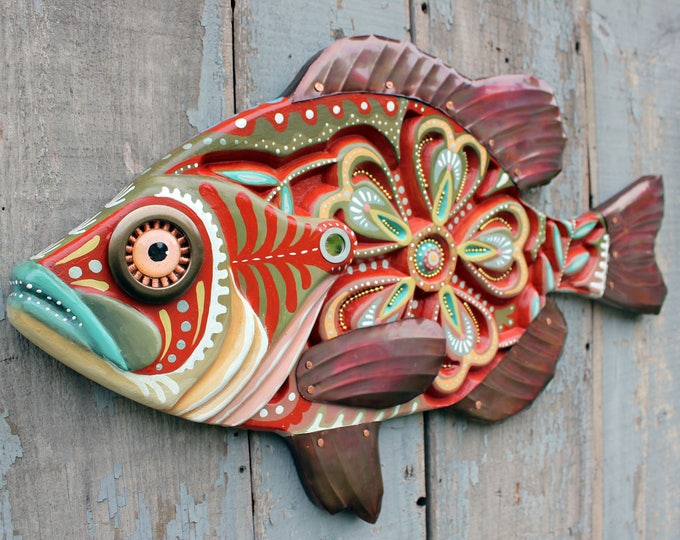 "Carved Folk Art Fish Wall Art 27"""