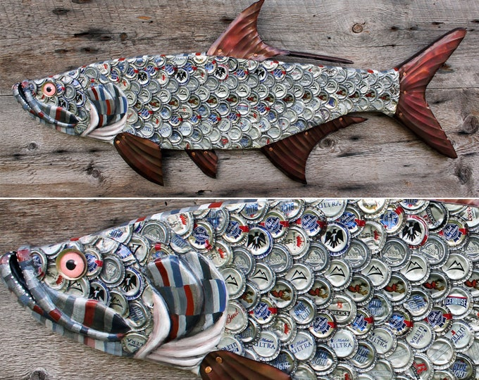 "38"" Bottlecap Tarpon, Large fish wall art, Bar Art, wood fish sculpture, handcrafted in Vermont, unique gift, Recycled Art , Bottlecap Art"