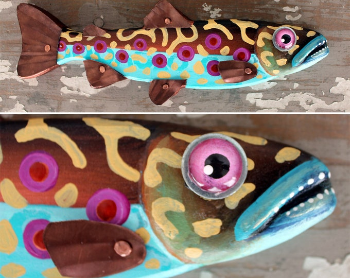 """Colorful Wood and Metal Trout Minnow Fish Wall Art 12"""""""