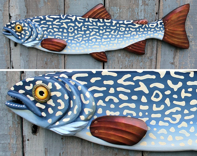 "33"" Lake Trout, Lake House Decor, wood and metal fish sculpture, folk art fish, Trout Wall Sculpture, handcrafted in Vermont, unique gift"