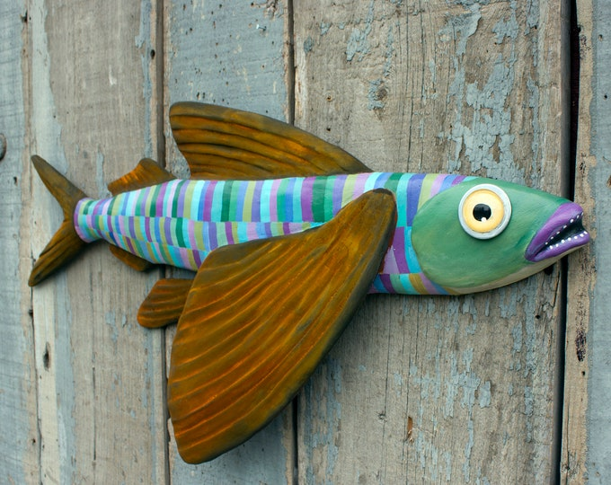 "Boomer, 26"" Flying Fish Folk Art Wall Sculpture"
