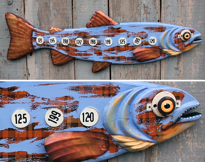 """37"""" Farmer Trout, wood and metal fish sculpture, fun fish wall art, Colorful Folk Art Fish,Lodge decor,handcrafted in Vermont, unique gift"""