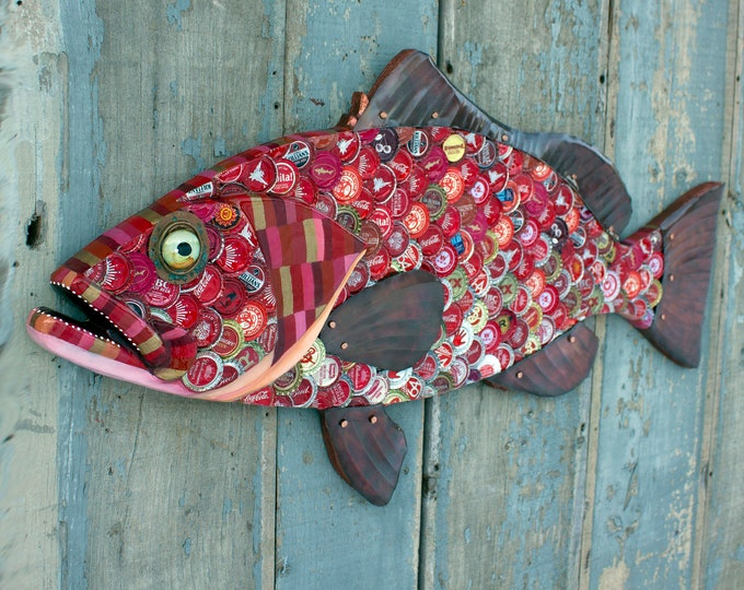 Red Grouper Large Wall Sculpture Bottlecap Art 34""