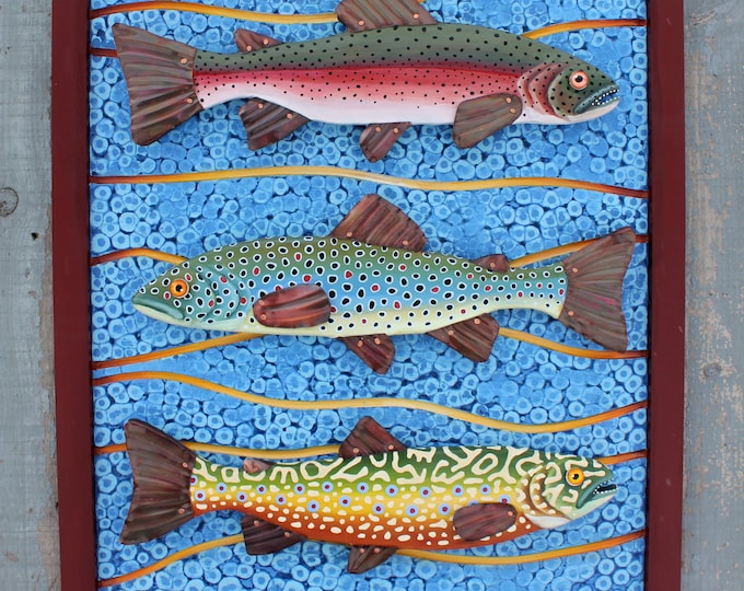 "Large Framed Trout Trio Mixed Media Wall Art 18""x 24"""